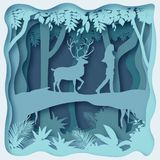 Environnement de forêt, vecteur ENV 10 d'abrégé sur coupe de papier illustration stock