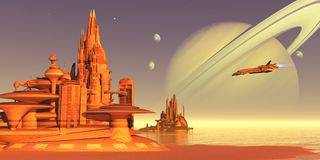 Environnement de lune de titan illustration libre de droits