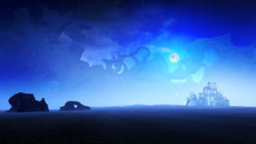 Environnement de planète de glace la nuit Images libres de droits