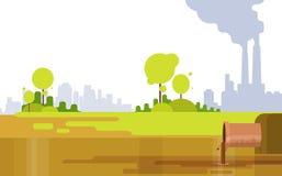 Environnement sale de vert des eaux usées de fumée d'air de tuyau d'usine de pollution de nature Images libres de droits