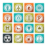 Environnement. Set of flat and colorful ecological icons Royalty Free Stock Image
