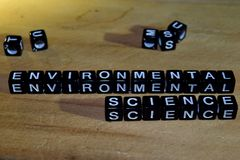 ENVIRONTMENTAL SCIENCE concept wooden blocks on the table. royalty free stock image