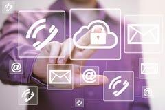 Envoi de courrier de Web de transmission de messages d'icône de serrure de nuage de bouton d'affaires Photographie stock libre de droits