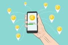 Envoi de l'argent avec un smartphone Illustration de vecteur illustration libre de droits