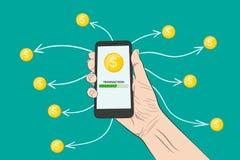 Envoi de l'argent avec un smartphone Illustration de vecteur illustration de vecteur