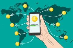 Envoi de l'argent avec un smartphone Illustration de vecteur illustration stock