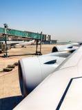 Envolez-vous avec des moteurs d'Airbus A380 à l'aéroport de capital de Pékin Photo libre de droits