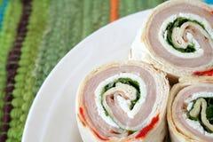 Envoltórios de Turquia e de queijo Foto de Stock Royalty Free