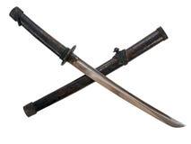 Envoltura corta de la espada de la espada del samurai con el aislante fotografía de archivo