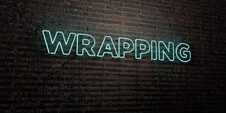 ENVOLVER - sinal de néon realístico no fundo da parede de tijolo - 3D rendeu a imagem conservada em estoque livre dos direitos Imagem de Stock