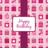 Envolvimento de presentes cor-de-rosa do aniversário Imagens de Stock Royalty Free