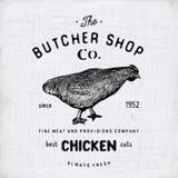 Envoyez à la boucherie l'emblème de vintage de Shop, chiken les produits carnés, style de calibre de logo de boucherie rétro La c Illustration Stock