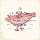 Envoyez à la boucherie l'emblème de vintage de Shop, chiken les produits carnés, style de calibre de logo de boucherie rétro La c Photographie stock