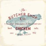 Envoyez à la boucherie l'emblème de vintage de Shop, chiken les produits carnés, style de calibre de logo de boucherie rétro La c Photo stock