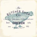 Envoyez à la boucherie l'emblème de vintage de Shop, chiken les produits carnés, style de calibre de logo de boucherie rétro La c Photo libre de droits