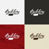 Envoyez à la boucherie l'icône de Shop, logo de Shop de boucher de vecteur, emblème de Shop de boucher Visage de vache et rétro i Photos stock