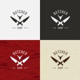 Envoyez à la boucherie l'icône de Shop, logo de Shop de boucher, emblème d'isolement de Shop de boucher Visage de vache et illust Image stock