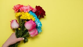 Envoyez ? des fleurs le concept en ligne La livraison de fleur pour la valentine et la f?te des m?res Bouquet des roses roses rou images libres de droits
