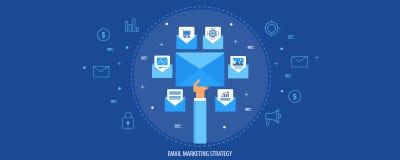 Envoyez la stratégie marketing, campagne de marketing de bulletin d'information, concept de logiciel de la livraison d'email Bann illustration stock