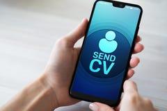 Envoyez le curriculum vitae de bouton de cv reprennent le concept d'affaires de recrutement et d'heure de recherche d'emploi photos stock