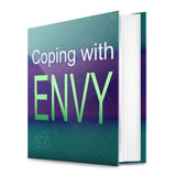 Envy concept. Illustration depicting a text book with an envy concept title. White background Stock Images