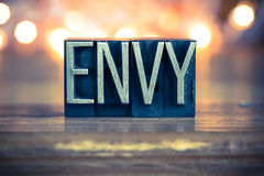 Envy Concept Metal Letterpress Type Royalty Free Stock Images