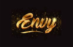 Goldenlogotype copy 46. Envy gold word text with sparkle and glitter background suitable for card, brochure or typography logo design Stock Photos