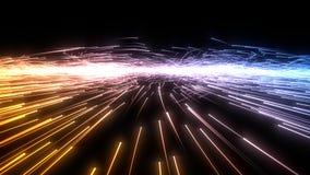 Enxame das partículas do fluxo com fugas de incandescência ilustração 3D ilustração stock