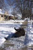 Enxerto, queda no passeio gelado, acidente Home Imagem de Stock