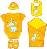 Enxoval de bebê do bebê com ardvark bonito - vetor ilustração royalty free