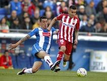 Enzo Roco of RCD Espanyol and Angel Correa of Atletico Madrid Stock Image