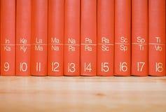 Enzyklopädie in einem hölzernen Bücherregal Lizenzfreies Stockbild
