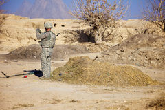 EOD Technician Investigates an IED Royalty Free Stock Images