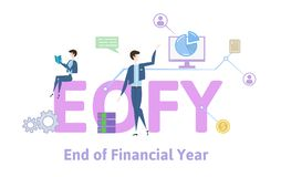 EOFY, End of Financial Year. Concept table with keywords, letters and icons. Colored flat vector illustration on white. EOFY, End of Financial Year. Concept with royalty free illustration