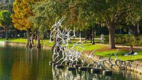 Eola park, Orlando, Florida, USA - DEC, 2016 stock video footage