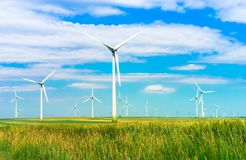 Wind turbines in the field Stock Image