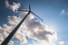 Eolian turbine in sky Stock Images