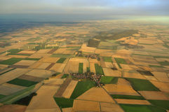 EOLIC FIELD AND TOWN FROM THE SKY IN GERMANY Royalty Free Stock Photos