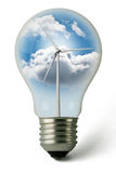 Eolic Green Energy Lightbulb Royalty Free Stock Photo