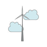 Eolic wind turbine. Eolic wind power turbine icon and blue clouds over white background. vector illustration Royalty Free Stock Image