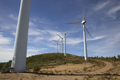 Eolic wind Turbines on a modern windmill farm for alternative energy generation Stock Image