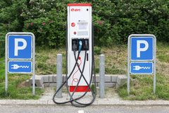Eon charging point for electric cars. Vejle, Denmark - May 29, 2016: Eon charging point for electric cars. Eon is one of the world's largest investor owned Royalty Free Stock Image