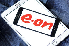 Eon energy company logo. Logo of energy and home services company eon on samsung mobile phone a5 on samsung tablet Stock Photography