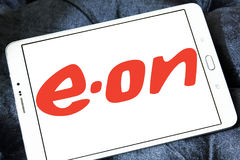 Eon energy company logo. Logo of energy and home services company eon on samsung tablet stock photos