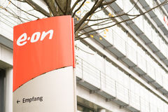 Eon. Sign infront of the Eon electricity supplier offices in munich - copy space to the right Stock Images