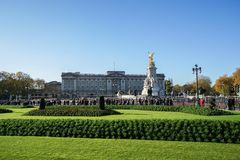 Eople are at Buckingham Palace for royal families welcome and guard changing. London / United Kingdom - 16 November 2017: People are at Buckingham Palace for stock photo