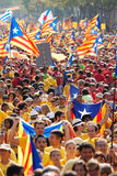 Eople at rally demanding independence for Catalonia Stock Images