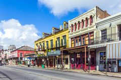 Eople visit historic building in the French Quarter stock photography