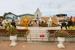 Eople visit monument to the King Naresuan the Great in Suphan Buri, Thailand. Suphan Buri, Thailand - August 19, 2011: Unidentified people visit monument to the royalty free stock photo