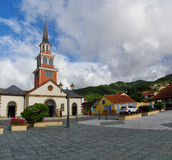 Eople waiting in front of Church Of Saint Henry on December 31, 2016, Martini. LES ANES D`ARLET, MARTINIQUE, FRANCE - DECEMBER 31: People waiting in front of stock image